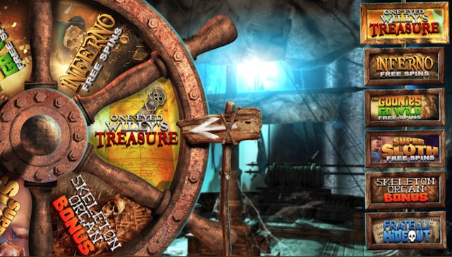 Spin the Goonies Bonus Wheel to win one of six features
