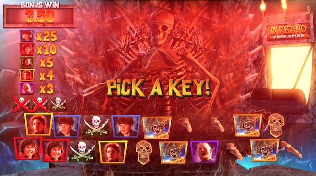 Pick Skeleton Keys to win multipliers in the Goonies Slot Skeleton Organ Bonus