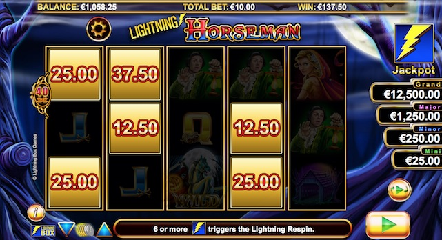 Win results from 3 initial spins in Lightning Respin bonus game