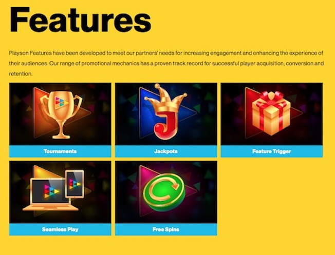 Promotional mechanics include feature triggers, tournaments and jackpots