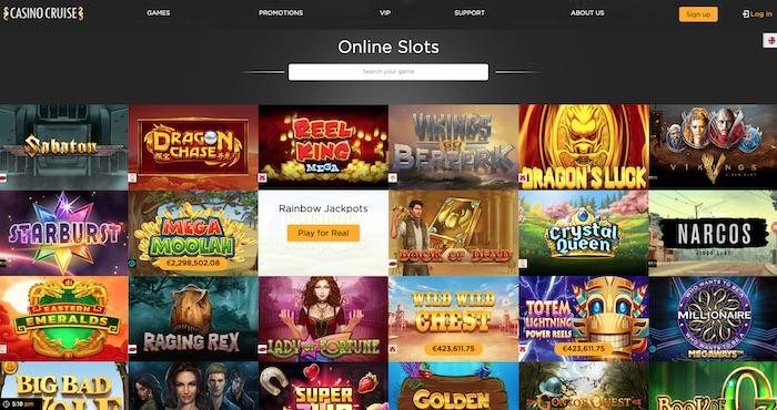 Casino Cruise slots and games menu screenshot