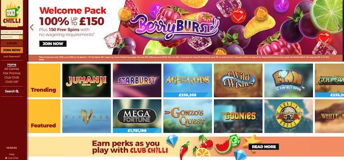 Chilli.com Casino Review Screenshot