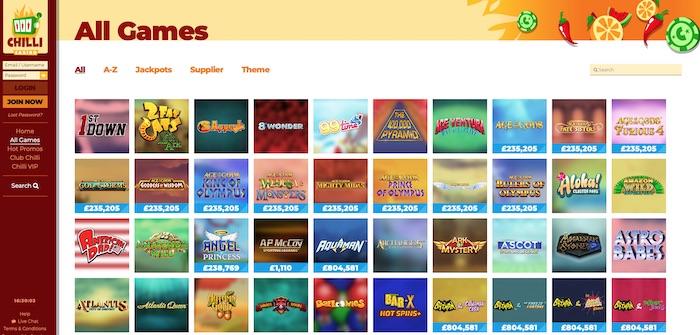Chilli Casino slots and games menu screenshot
