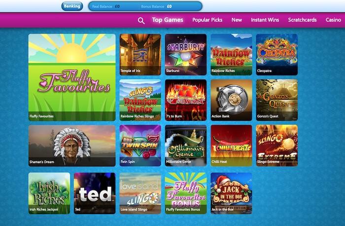 Costa Games slots and casino menu screenshot