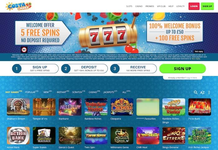 ''Costagames.com review home screenshot