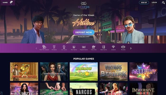 'Genesis casino slots and games menu screenshot