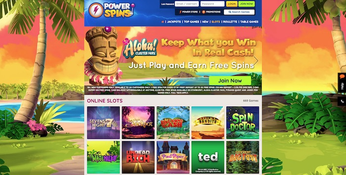 Powerspins.com Casino Review Screenshot