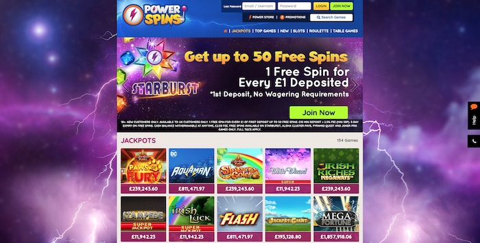 Power Spins Casino slots and games menu screenshot