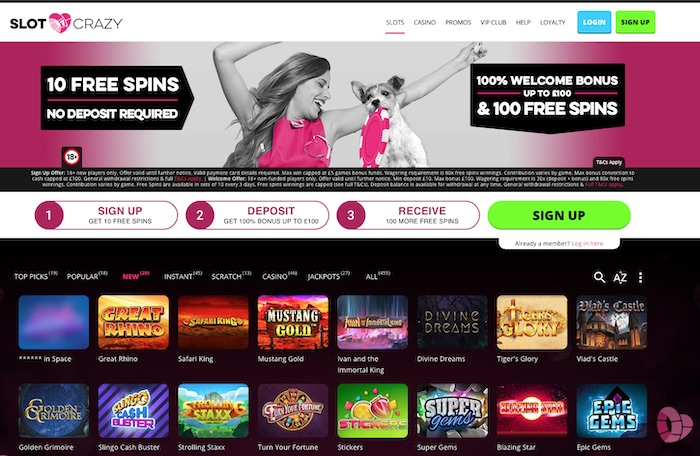 'Slot Crazy Casino slots and games menu