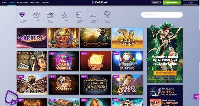 Casiplay Casino slots and games menu screenshot