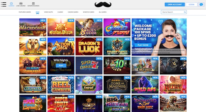 Mr Play Casino slots and games menu screenshot