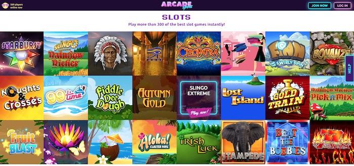 Arcade Spins slots and games menu screenshot