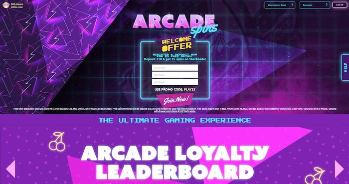 Arcadespins.com casino review screenshot