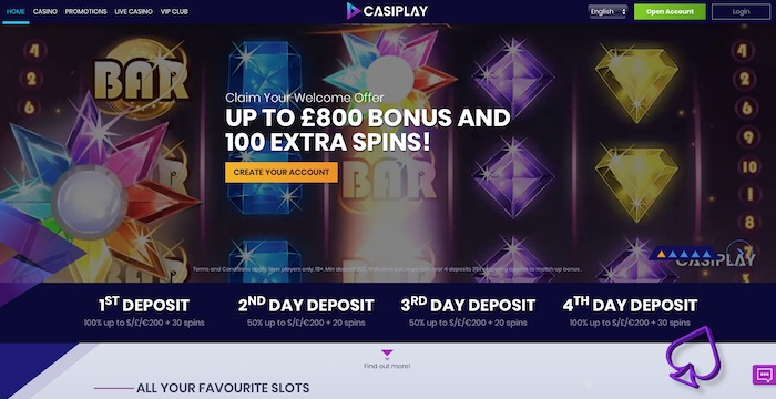 Casiplay.com Casino Review Screenshot