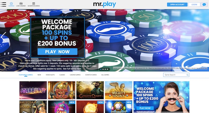 Mrplay.com Casino Review Screenshot