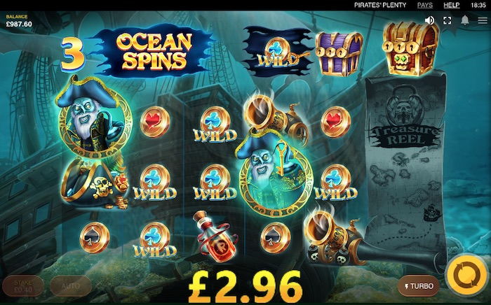 Pirate's Plenty the Sunken Treasure Slot Features include Ocean Spins