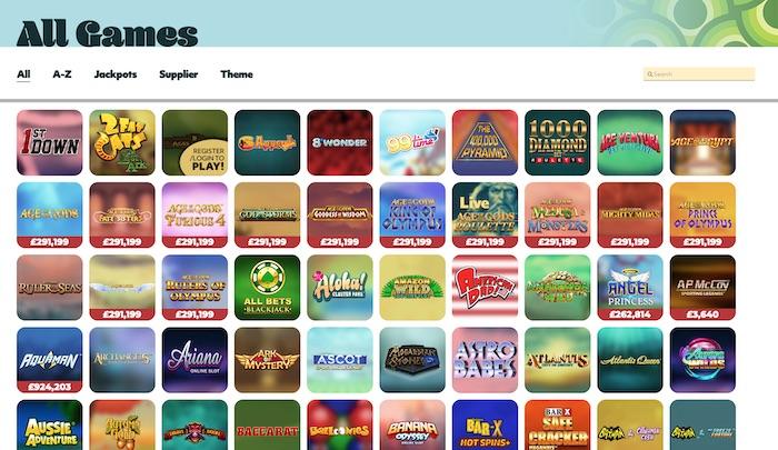 7Casino slots and games menu screenshot