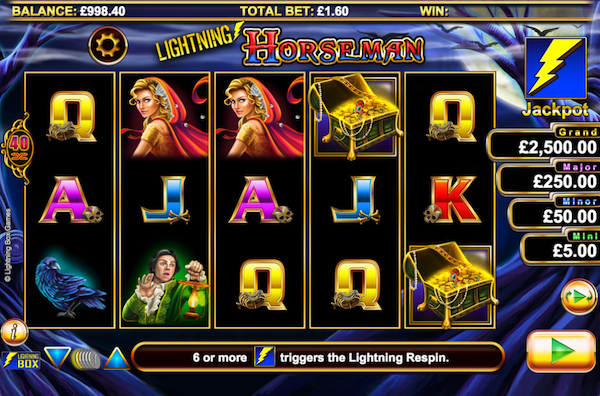 The top Grosvenor Casino slots include Lightning Horseman
