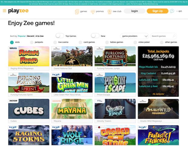 Playzee Casino Review UK Screenshot 2020