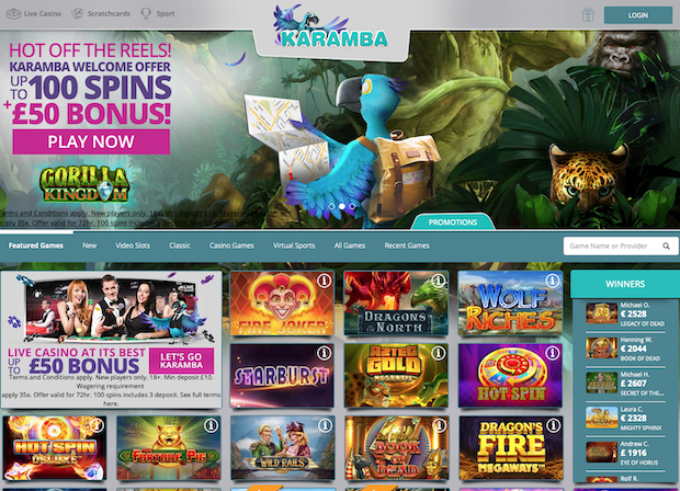 Karamba UK Casino Screenshot Updated 2020