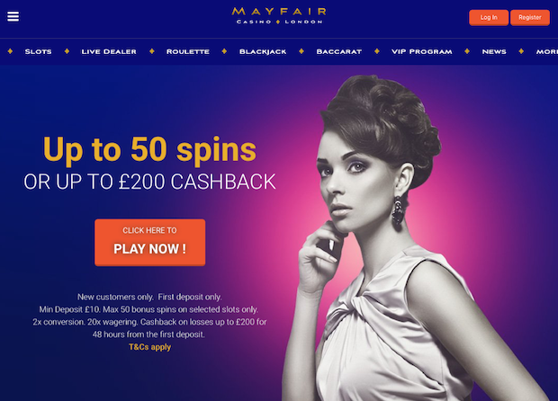 Mayfair London Online Casino Review Screenshot