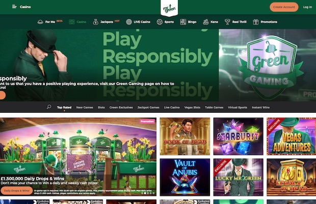 Mr Green Casino UK Review Screenshot