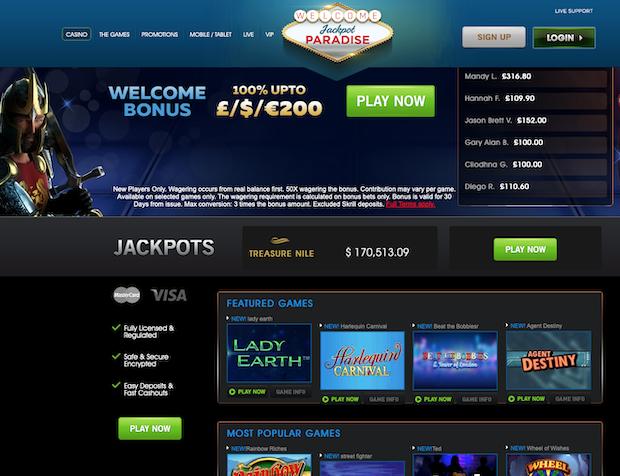 Jackpot Paradise Casino Online
