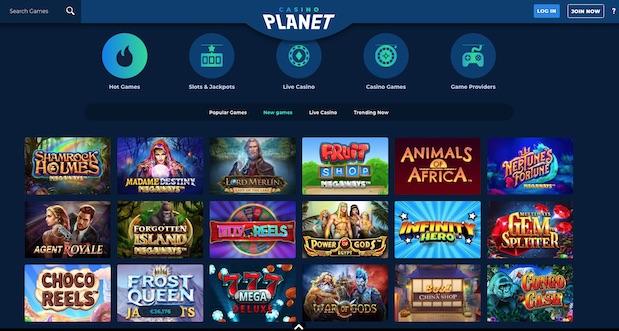 Casino Planet Review User Interface Screenshot