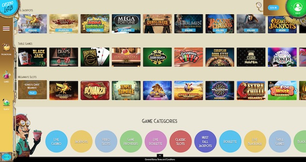 Casino Lab Review User Interface Games Menu