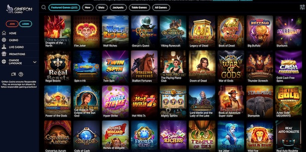 Griffon Casino UK User Interface and Games Menu