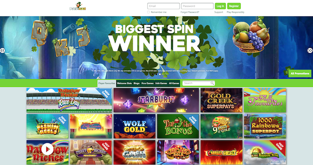 Pots of Luck Casino Review Home Screenshot