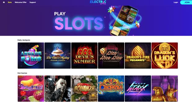 Arcade Spins Review User Interface Screenshot