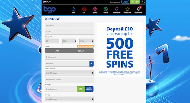 How to sign up at bgo online casino in the UK