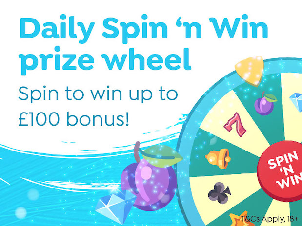 Spin and Win Casino Deals include the Daily Bonus Prize Wheel